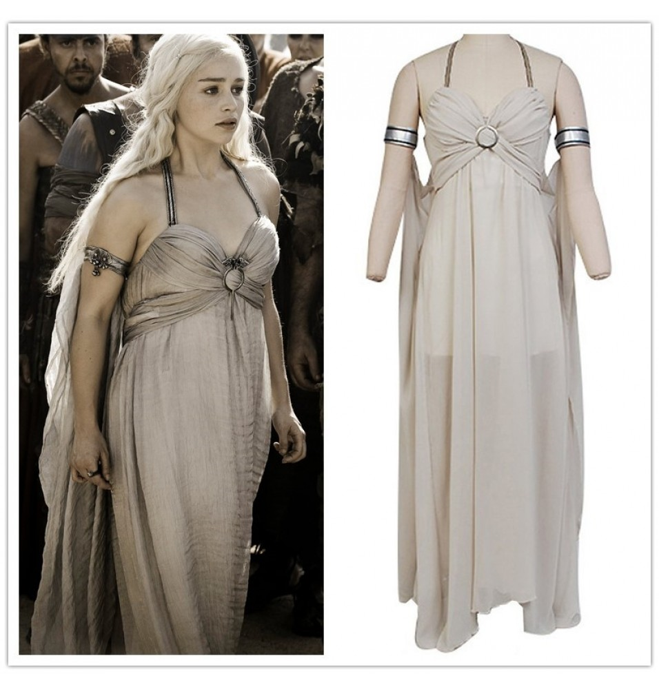 Game of Thrones Daenerys Targaryen Grey Dress Cosplay Costumes