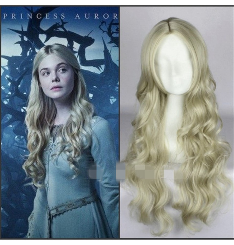 Disney Maleficent Princess Aurora Cosplay Wig Long Wavy Ash Blonde Wig