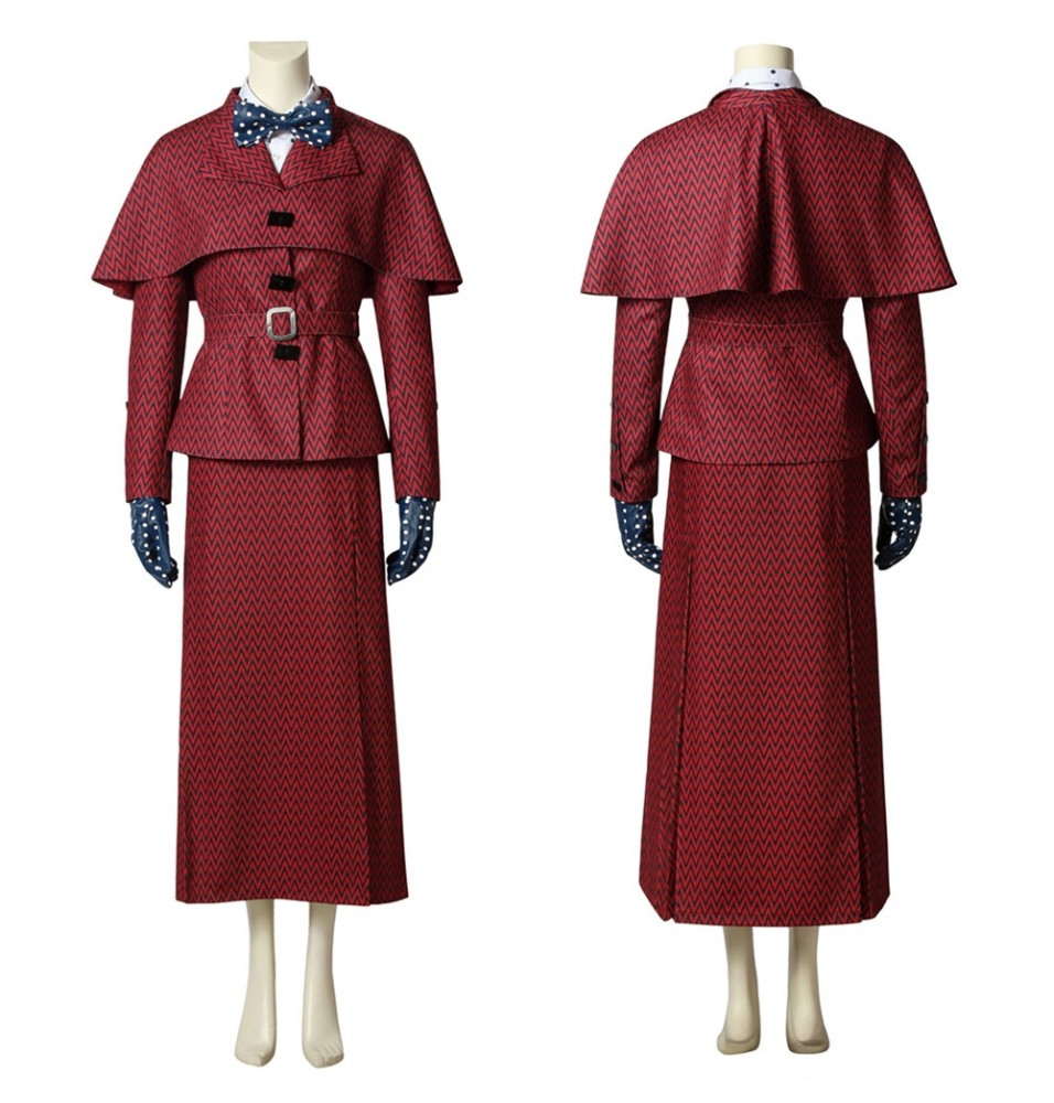 Mary Poppins Returns Mary Poppins Cosplay Costume Red