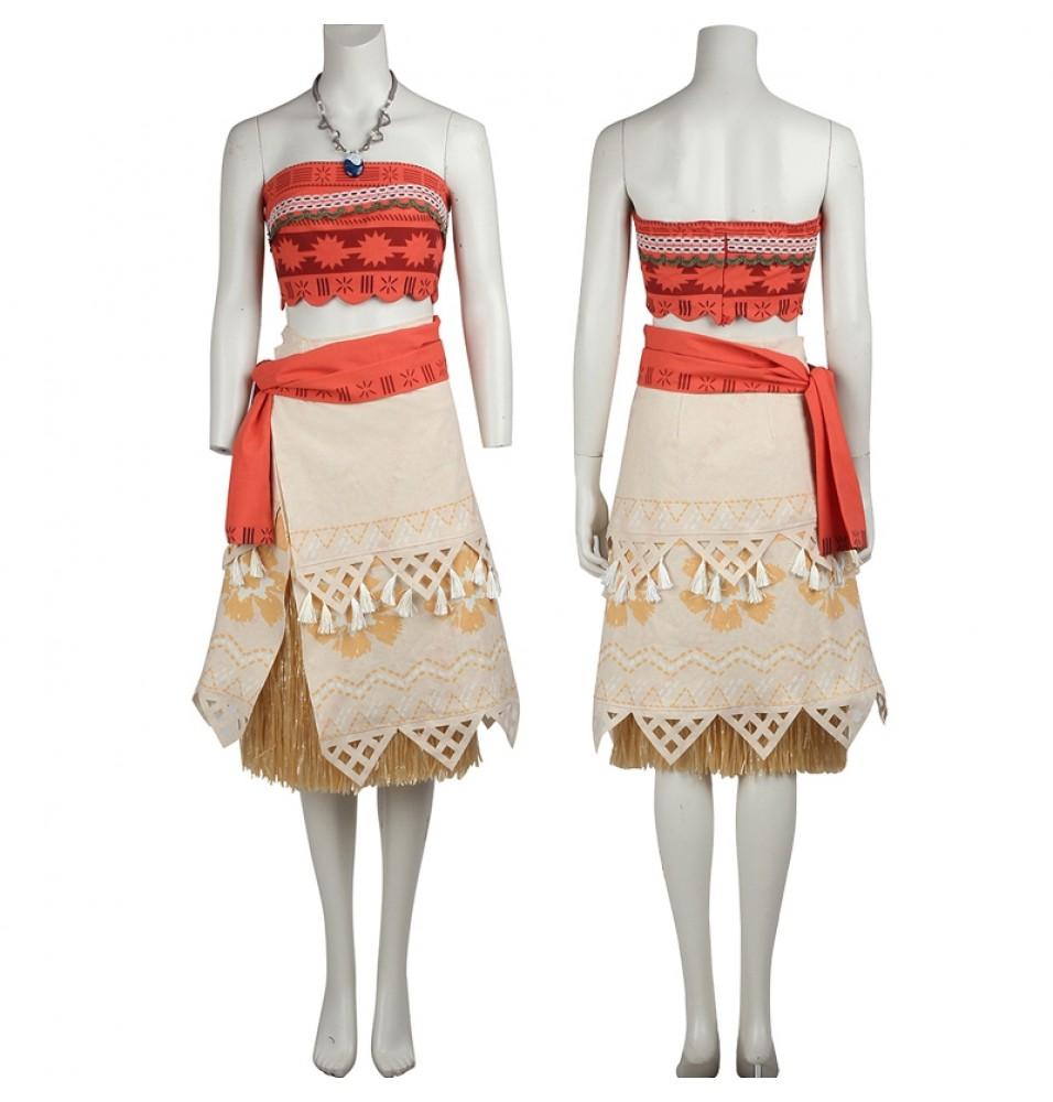Disney Moana Princess Cosplay Costume Kids Adults Dress Deluxe Version