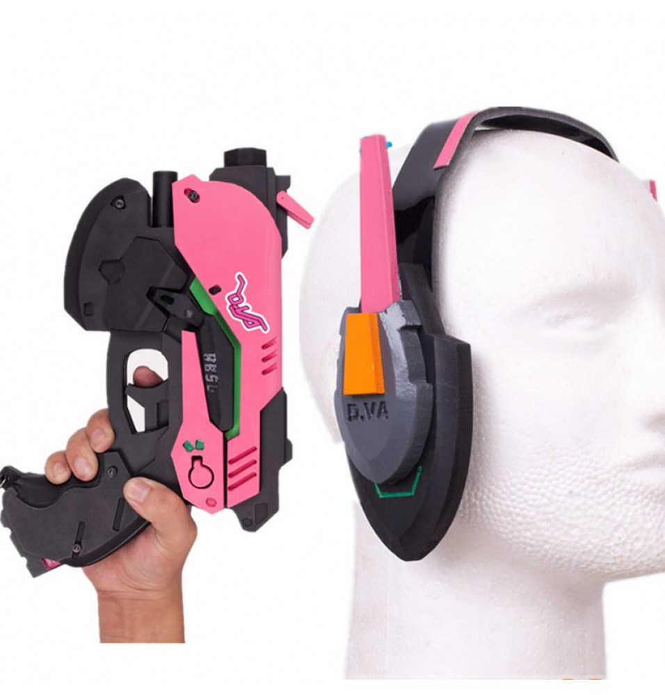 Overwatch D.Va Hana Song Gun Headset Weapon Cosplay Props Set