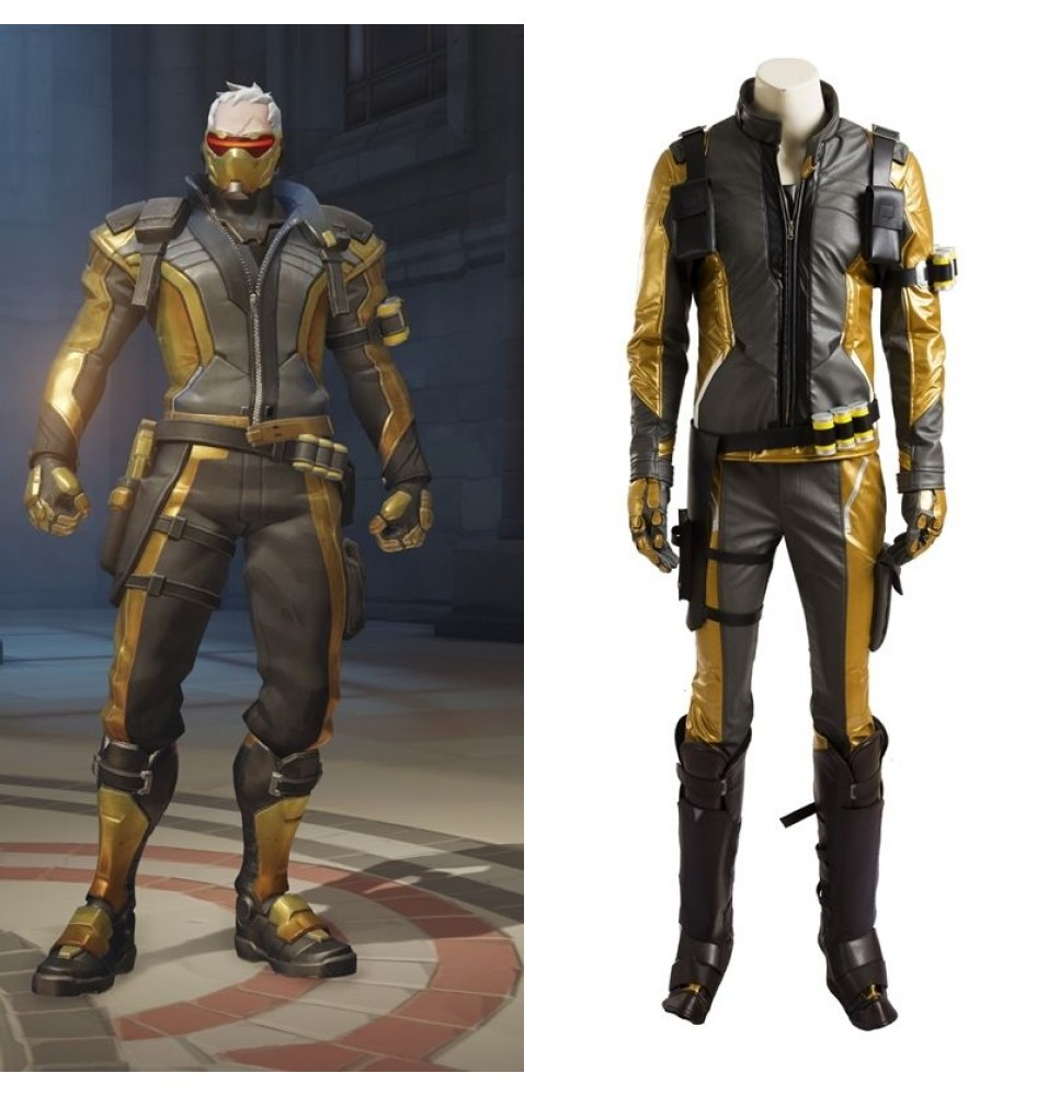 Overwatch Soldier 76 John Jack Morrison Golden Cosplay Costume