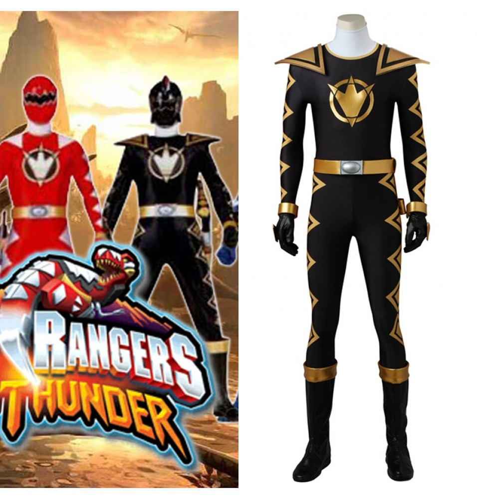 Power Rangers DinoThunder Cosplay Costumes Black Jumpsuit Costume