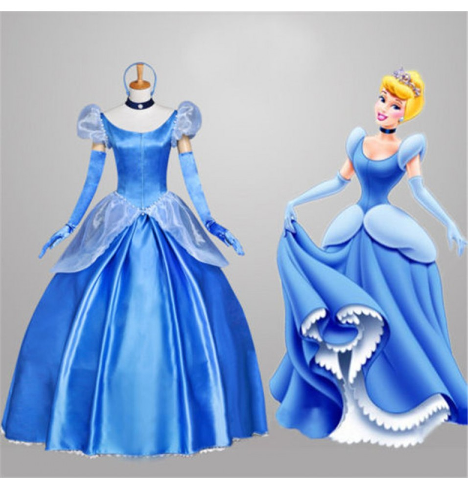 Princess Cinderella Wedding Dress Costume For: Cinderella Live Action Blue Wedding Dress Cosplay Deluxe