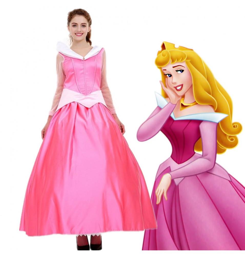 Disney Sleeping Beauty Princess Aurora Pink Dress Cosplay Costume