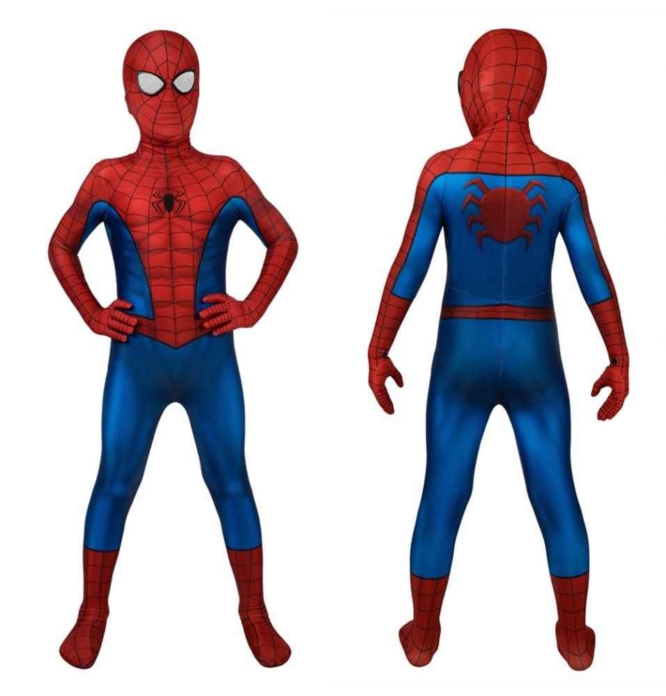 Spider-Man PS4 Peter Parker Kids 3D Zentai Jumpsuit